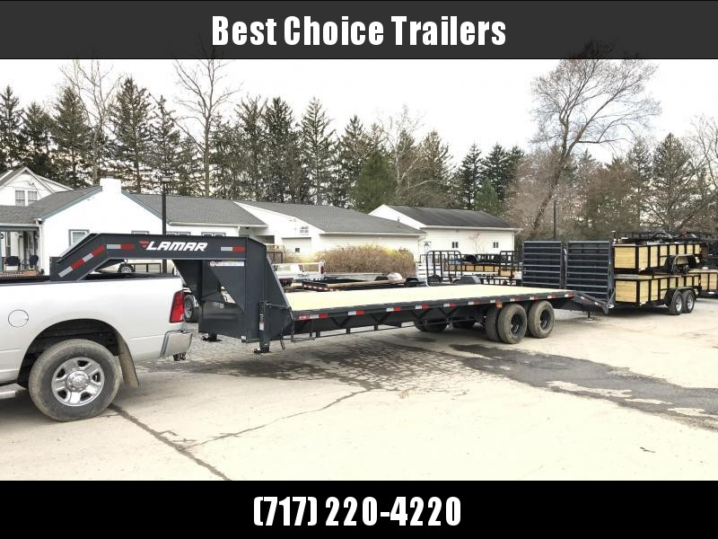 "2020 Lamar 102x32' Gooseneck Beavertail Deckover Trailer 25900# * 12000# DEXTER AXLES * EOH DISC BRAKES * FULL WIDTH RAMPS * 12"" / 22# I-BEAM * FRONT TOOLBOX / DUAL JACKS * UNDER FRAME BRIDGE"