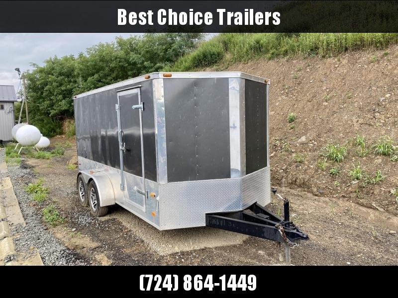 USED 2012 American Hauler 7x14' Enclosed Cargo Trailer 7000# GVW * CHARCOAL COLOR * ALUMINUM WHEELS * RUBBER COIN FLOOR/RAMP DOOR * RECESSED E-TRACK * VINYL WALLS & CEILING