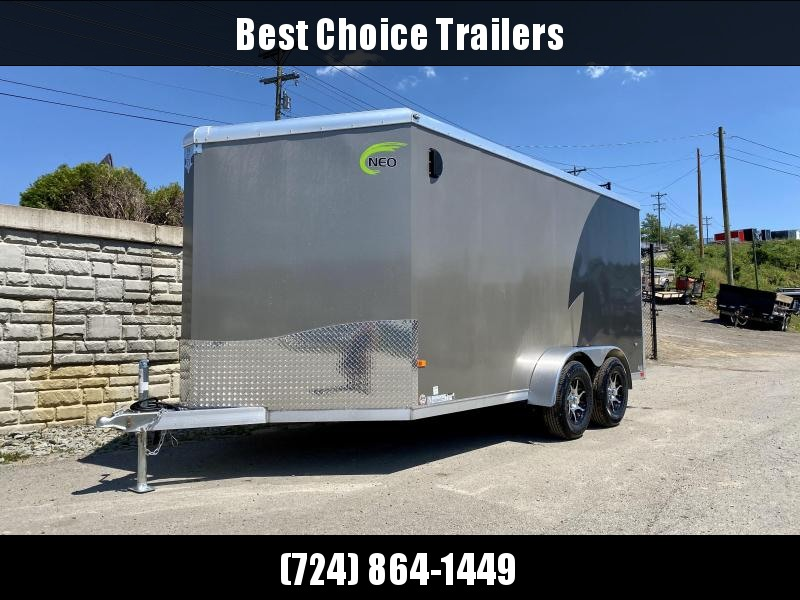 """2020 NEO Trailers 7x14' NAMR Aluminum Enclosed Motorcycle Trailer * PEWTER+CHARCOAL * VINYL WALLS * ALUMINUM WHEELS * +6"""" HEIGHT * NUDO FLOOR+RAMP * CABINET * 2-TONE * INTEGRATED FRAME * TIE DOWN SYSTEM"""