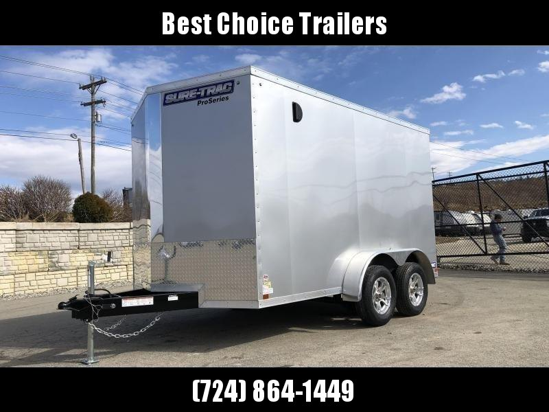 "2021 Sure-Trac 7x16' Pro Series Enclosed Cargo Trailer 7000# GVW * WHITE EXTERIOR * V-NOSE * RAMP * .030 SCREWLESS EXTERIOR * ALUMINUM WHEELS * 1 PC ROOF * 6'6"" HEIGHT * 6"" FRAME * 16"" O.C. C/M * PLYWOOD * TUBE STUDS"
