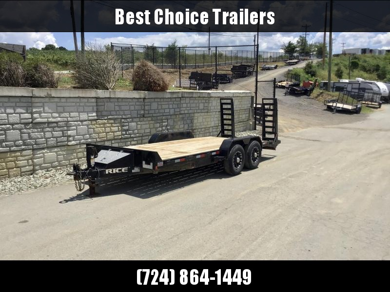 USED 2018 Rice 7x18' 14000# GVW Equipment Trailer * STAND UP RAMPS * TOOLBOX * ADJUSTABLE PINTLE COUPLER * ALUMINUM WHEELS * STAKE POCKET/RUBRAIL/D-RINGS