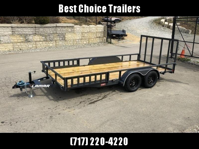 "2020 Lamar 7x16' ATV Utility Trailer 7000# GVW * ATV SIDE RAMPS * CHARCOAL * 2x2"" TUBE GATE W/ SPRING ASSIST * COLD WEATHER HARNESS * 4"" CHANNEL TONGUE * STAKE POCKETS * TEARDROP FENDERS * BULLET LED'S"