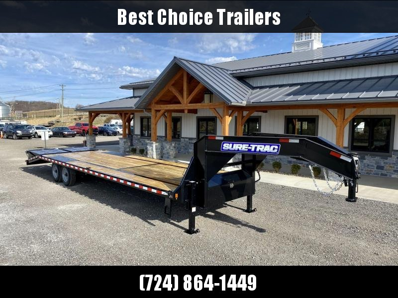 "2021 Sure-Trac 102x30' Gooseneck Beavertail Deckover Trailer 17600# GVW * 8000# AXLES * 17.5"" 16-PLY TIRES * 3 3/8"" BRAKES * DUAL JACKS * FULL TOOLBOX * FULL WIDTH RAMPS * 12"" I-BEAM * PIERCED FRAME * (10) 1"" D-RINGS * CROSS TRAC"