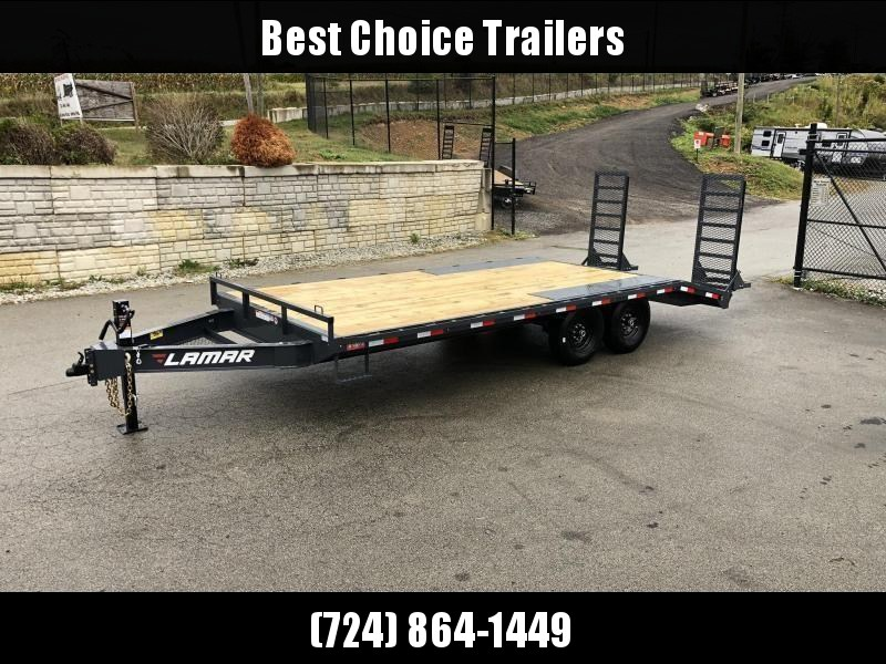 """2020 Lamar 102x24' Beavertail Deckover Trailer 14000# GVW * STAND UP RAMPS + SPRING ASSIST  * CHARCOAL * TOOL TRAY * HD COUPLER * I-BEAM FRAME * 16"""" O.C. C/M * RUBRAIL/STAKE POCKETS/PIPE SPOOLS * CHANNEL SIDE RAIL * 4X8"""" TUBE BUMPER"""
