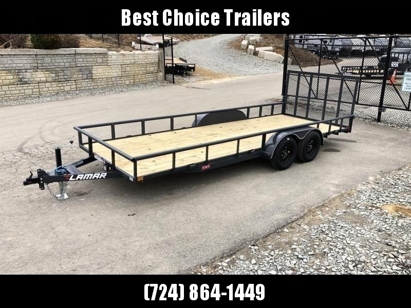 "2021 Lamar 7x20' Deluxe Utility Landscape Trailer 7000# GVW * ADJUSTABLE COUPLER * PIPE TOP RAIL * 7K DROP LEG JACK * CHARCOAL * HD GATE/2X2"" TUBE C/M + SPRING ASSIST * COLD WEATHER HARNESS * 4"" CHANNEL TONGUE * STAKE POCKETS * TEARDROP FENDERS * BULLET L"