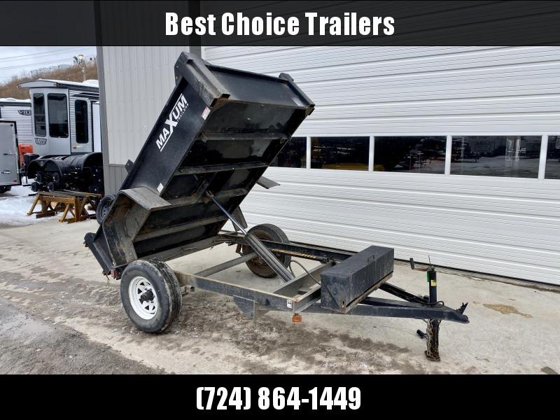 "USED 2012 Maxum 5x8' Single Axle Dump Trailer 5000# GVW * POWER UP/GRAVITY DOWN * 15"" RADIALS"
