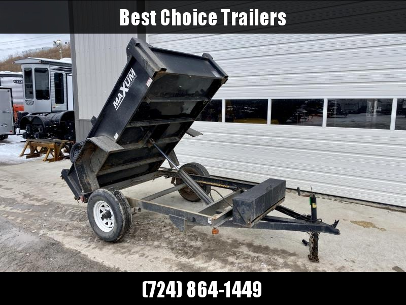 "USED 2012 Maxum 5x8' Single Axle Dump Trailer 5000# GVW * POWER UP/GRAVITY DOWN * 15"" RADIALS"