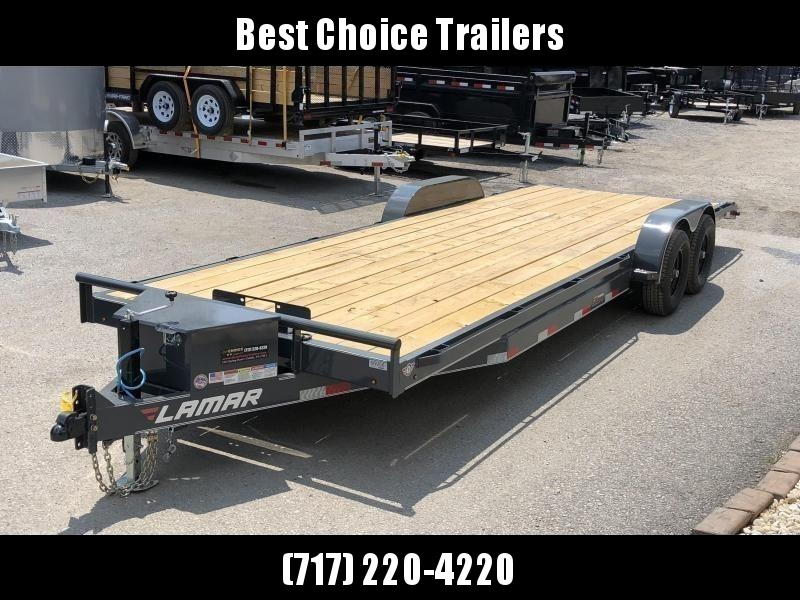 2021 Lamar 7x22' Car Hauler Trailer 9990# GVW * CHARCOAL POWDERCOATING * 7K DROP LEG JACK * CHANNEL C/M * ADJUSTABLE COUPLER * RUBRAIL * TOOLBOX * WINCH PLATE * SWIVEL JACKS