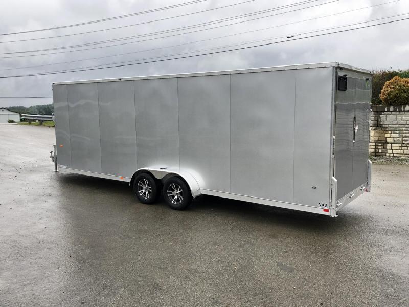 "2021 Neo 7x28' NASF Aluminum Enclosed All-Sport Trailer 7000# GVW * 7' HEIGHT UTV PKG * SILVER EXTERIOR * FRONT/REAR NXP RAMP * VINYL WALLS * SPORT TIE DOWN SYSTEM * 16"" O.C. FLOOR * PRO STAB JACKS * UPPER CABINET * ALUMINUM WHEELS * SCREWLESS * 1 PC RO"