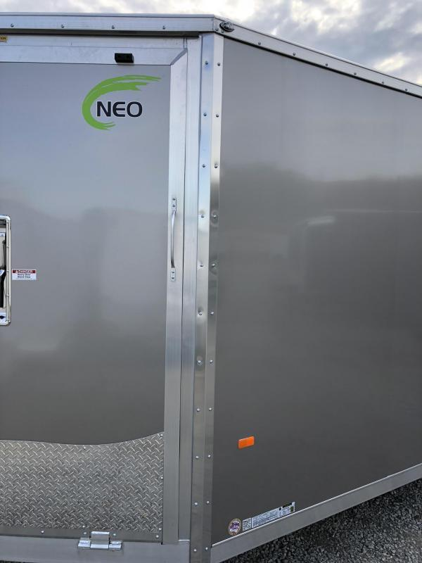 "2019 Neo 7x28' NASF Aluminum Enclosed All-Sport Trailer 7000# GVW * INDIGO BLUE EXTERIOR * FRONT/REAR NXP RAMP * SPORT TIE DOWN SYSTEM * 16"" O.C. FLOOR * PRO STAB JACKS * UPPER CABINET * ALUMINUM WHEELS * SCREWLESS * 1 PC ROOF * CLEARANCE"