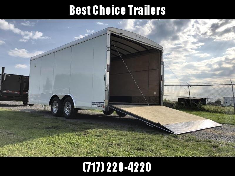 "2021 Sure-Trac 8.5x20' Landscape Pro Enclosed Trailer 9900# GVW * DUAL SEMI-CABLELESS * WHITE EXTERIOR * 2X6"" PLANK FLOOR * EXTENDED TONGUE * 5200# TORSION * INTEGRATED KNIFE EDGE * STEEL WORKBENCH * EXTENDED TONGUE * ADJUSTABLE COUPLER * DROP LEG JACK *"