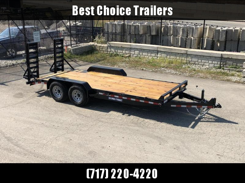"2021 Sure-Trac 7x20' Equipment Trailer 14000# GVW * TOOLBOX * 12K JACK * DELUXE OVERWIDTH 4"" CHANNEL RAMPS W/ MESH * RUBRAIL/STAKE POCKETS/D-RINGS * HD FENDERS * ADJUSTABLE CAST COUPLER * SPARE MOUNT * SEALED HARNESS"