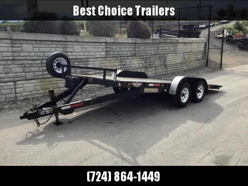 USED H&H 7X18' MX Manual Tilt Car Hauler 7000# GVW  * SPARE WHEEL/TIRE