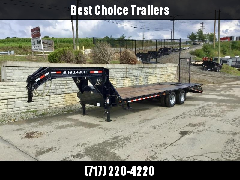 2020 Ironbull 102x24' Gooseneck Beavertail Deckover Trailer 25990# GVW * DEXTER 12K AXLES * FULL WIDTH RAMPS * PIERCED FRAME * SPARE TIRE * UNDER FRAME BRIDGE * RUBRAIL/STAKE POCKETS/PIPE SPOOLS/D-RINGS * DUAL JACKS