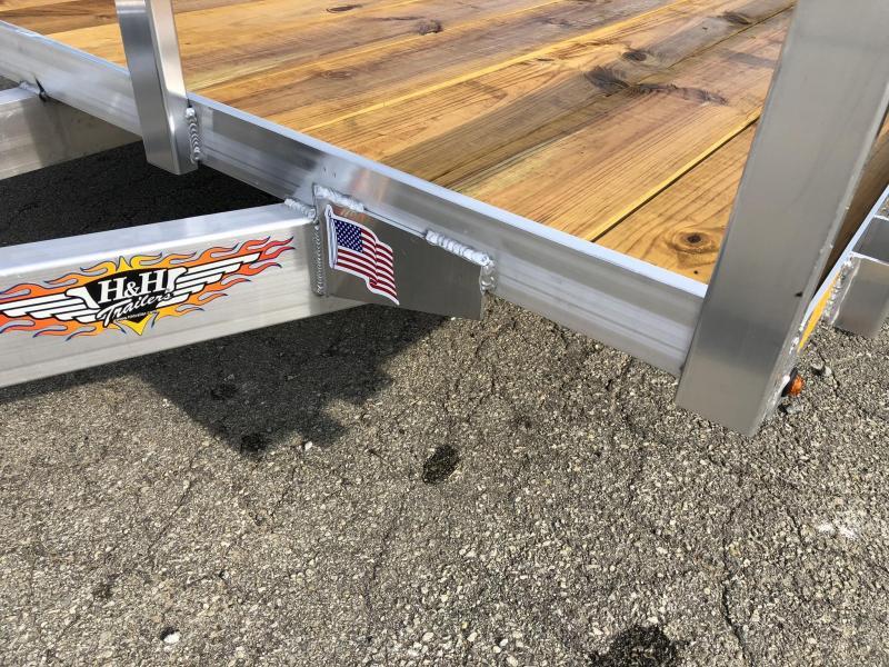 2021 H&H 7x14' TRSA Aluminum Utility Landscape Trailer 7000# GVW * ALUMINUM WHEELS * BI-FOLD GATE
