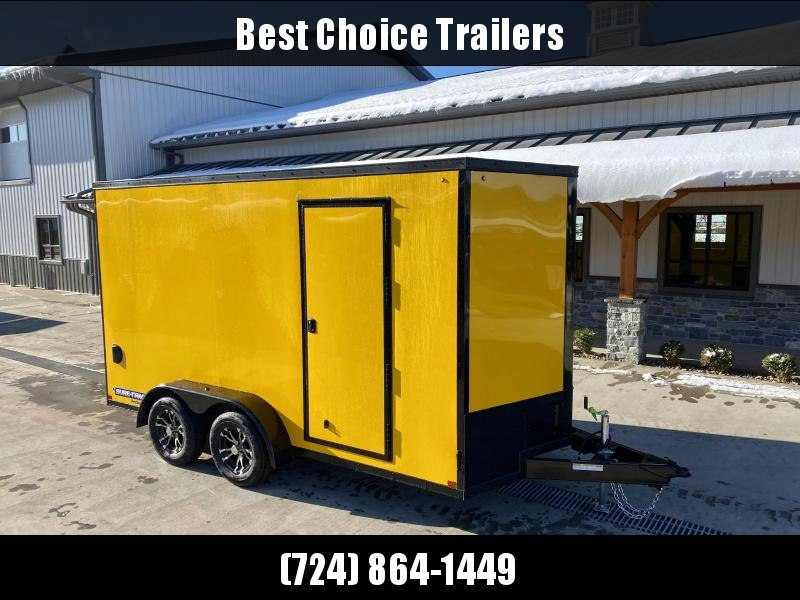 "2021 Sure-Trac 7x14' Enclosed Cargo Trailer 7000# GVW * YELLOW EXTERIOR * BLACKOUT TRIM PACKAGE * TORSION * .030 SCREWLESS * ALUM WHEELS * 1PC ROOF * 7' HEIGHT * 6"" FRAME * LED LIGHTS * BACKUP LIGHTS"