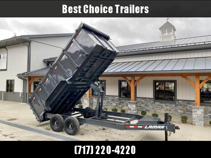 "2021 Lamar 7x14' High Side Dump Trailer 14000# GVW * 4' HIGH SIDES * 7GA FLOOR * TARP KIT * UNDERMOUNT RAMPS * SCISSOR HOIST * 12K JACK * CHARCOAL * RIGID RAILS * HD COUPLER * NESTLED I-BEAM FRAME * 3-WAY GATE * 12"" O.C. C/M * SPARE MOUNT"