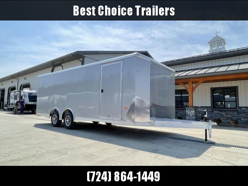 2021 NEO 8.5x22' NACX Aluminum Enclosed Car Hauler Trailer 9990# GVW * SILVER EXTERIOR * ESCAPE DOOR * 5200# TORSION * BULLNOSE * SPREAD AXLE * DRT REAR SPOILER * NXP RAMP * ROUND TOP * HD FRAME * ALUMINUM WHEELS * RV DOOR * 1 PC ROOF