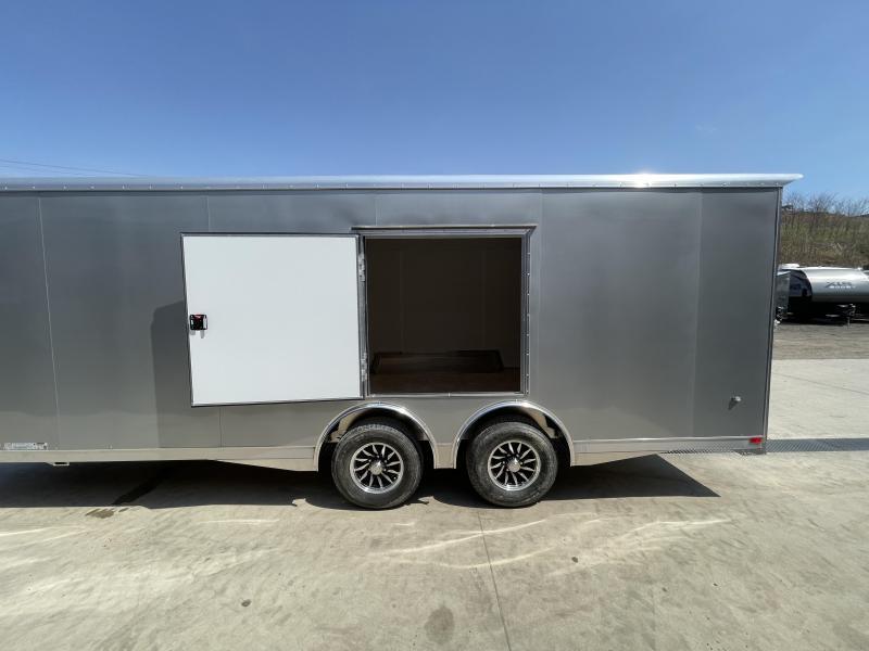 2021 NEO 8.5x22' NACX Aluminum Enclosed Car Hauler Trailer 9990# GVW * SILVER EXTERIOR * ESCAPE DOOR * 5200# TORSION * BULLNOSE * SPREAD AXLE * DRT REAR SPOILER * NXP RAMP * ROUND TOP * HD FRAME * ALUMINUM WHEELS * RV DOOR * 1 PC ROOF