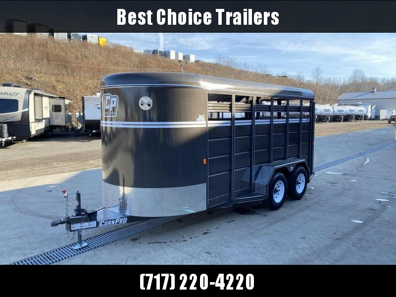 "2021 Corn Pro 16' Livestock Trailer 9990# GVW * 5200# AXLES * 7' WIDTH * SLIDING CENTER GATE * BEIGE * TORSION SUSPENSION * DEXTER AXLES * 225/75/R15 8-PLY TIRES * HD FENDERS * CENTER AND REAR SLAM GATES * 4"" CHANNEL TONGUE * URETHANE PAINT * KILN DRIE"