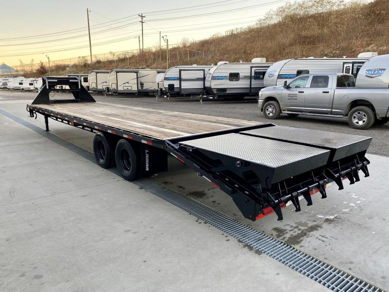 "2021 Lamar 102x32' Gooseneck Beavertail Deckover Trailer 22000# * 10000# DEXTER AXLES * FULL WIDTH RAMPS * 12"" / 22# I-BEAM * FRONT TOOLBOX / DUAL JACKS * UNDER FRAME BRIDGE"