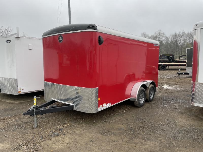 "2021 Wells Cargo 7x14' Road Force Enclosed Cargo Trailer 7000# GVW * RED EXTERIOR * RAMP DOOR * ROUND TOP * SCREWLESS .030 EXTERIOR * 6'6"" HEIGHT * TUBE STUDS * 1 PC ROOF * 16"" O.C. WALLS/FLOOR * RV DOOR * ARMOR GUARD * BULLET LED'S"
