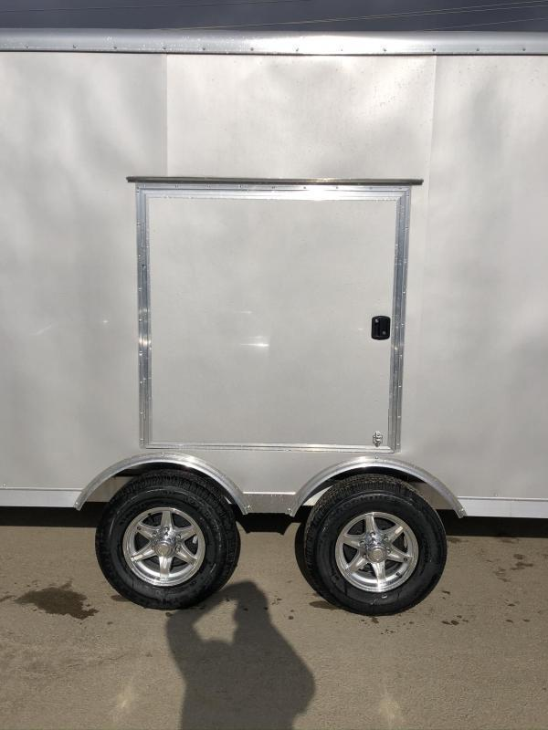 2021 NEO 8.5x22' NMS Aluminum Enclosed All Sport Car Hauler Trailer 9990# GVW * SILVER * BIKES UTV'S SNOWMOBILE CARS ATV'S * ROUND TOP * ALUM WHEELS * 5200# TORSION * VINYL WALLS * FRONT RAMP * ESCAPE HATCH