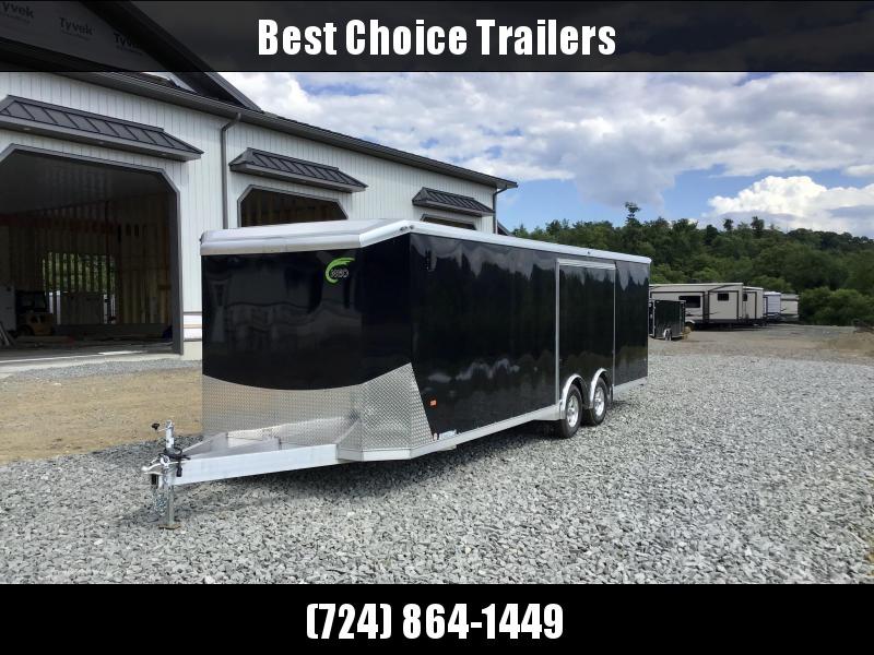 2020 NEO 8.5X26' Aluminum Enclosed Car Hauler Trailer 9990# GVW * BLACK EXTERIOR * SPREAD AXLE * ESCAPE DOOR * ALUMINUM WHEELS * CABINETS * NUDO FLOOR/RAMP * FINISHED WALLS/CEILING