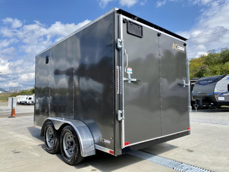 "2021 ITI Cargo 7x12' Enclosed Cargo Trailer 7000# GVW * SILVER EXTERIOR * .030 SEMI-SCREWLESS * 1 PC ROOF * 6'6"" INTERIOR * 3/8"" WALLS * 3/4"" FLOOR * PLYWOOD * 24"" STONEGUARD * HIGH GLOSS PAINTED FRAME * RV DOOR"