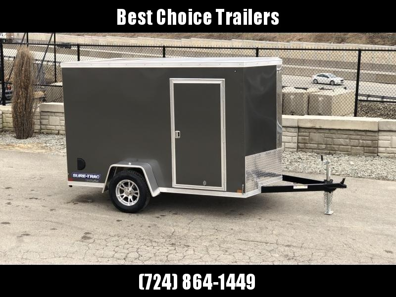 """2021 Sure-Trac 6x10' Pro Series Enclosed Cargo Trailer 2990# GVW * CHARCOAL EXTERIOR * V-NOSE * RAMP * .030 SCREWLESS EXTERIOR * ALUMINUM WHEELS * 1 PC ROOF * 4"""" TUBE FRAME * 16"""" O.C. WALLS * PLYWOOD * TUBE STUDS * CEILING LINER * RV DOOR"""