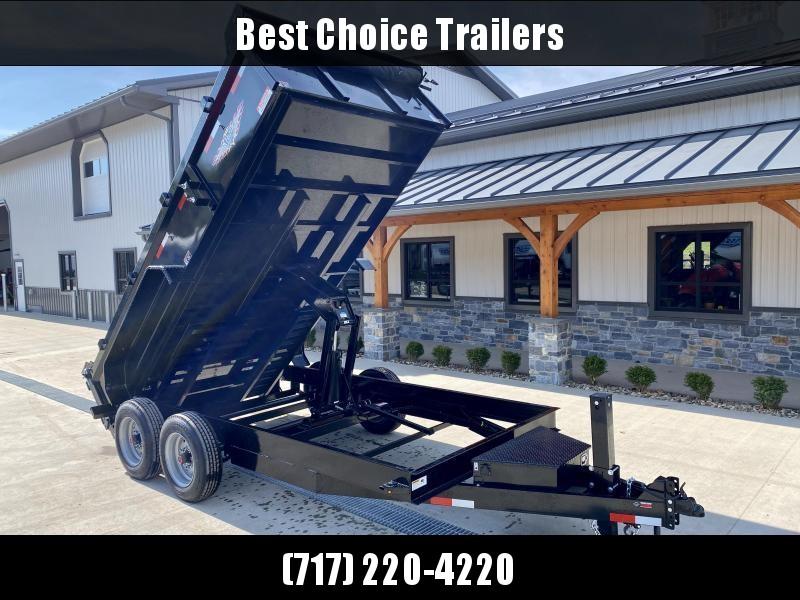 "2021 H&H 7x16' Low Profile Dump Trailer 16000# GVW * 8000# AXLES * 17.5"" TIRES * 7GA FLOOR UPGRADE * HYDRAULIC JACK * 4"" RAMPS * DELUXE TARP WITH SHROUD * 8"" FRAME * SCISSOR HOIST * COMBO GATE * CLEARANCE"