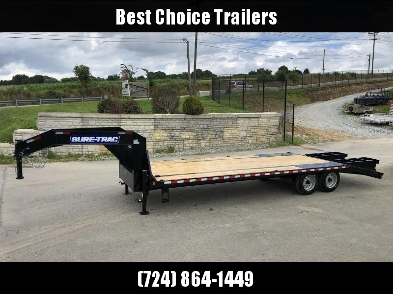 "2020 Sure-Trac 102x25' Gooseneck Beavertail Deckover Trailer 17600# GVW * 8000# AXLES * 17.5"" 16-PLY TIRES * 3 3/8"" BRAKES * DUAL JACKS * FULL TOOLBOX * FLIPOVER RAMPS + SPRING ASSIST * 12"" I-BEAM * PIERCED FRAME * (10) 1"" D-RINGS * CROSS TRAC BRACING * C"