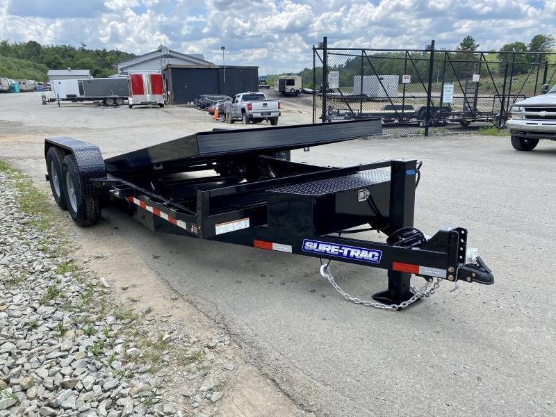2021 Sure-Trac 7x18' Power Tilt Equipment Trailer 14000# GVW * OAK DECK * HYDRAULIC JACK * WINCH PLATE * REMOVABLE FENDERS * ADJUSTABLE COUPLER * RUBRAIL/STAKE POCKETS/D-RINGS * SPARE TIRE MOUNT