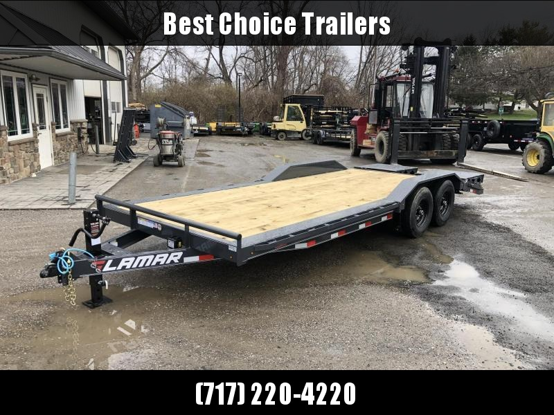 "2021 Lamar 102x22' Equipment Trailer 14000# GVW * FULL WIDTH RAMPS * CHARCOAL * 102"" DECK * DRIVE OVER FENDERS * CHARCOAL * D-RINGS"