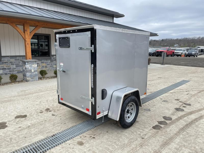 """2021 ITI Cargo 4x6' Enclosed Cargo Trailer 2990# GVW * SILVER EXTERIOR  * .030 SEMI-SCREWLESS * 1 PC ROOF * 3/8"""" WALLS * 3/4"""" FLOOR * 16"""" STONEGUARD * HIGH GLOSS PAINTED FRAME"""