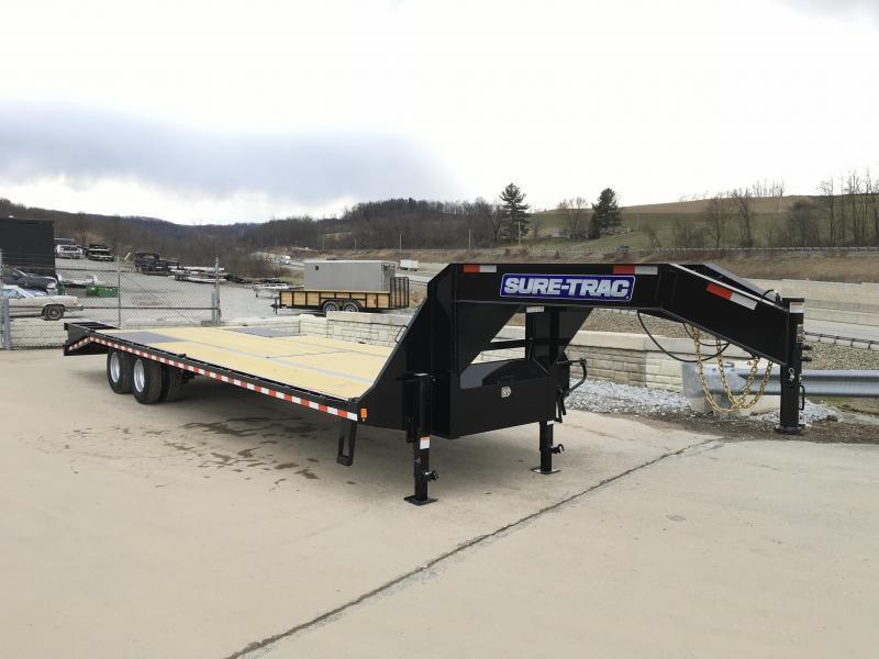 "2019 Sure-Trac 102x40' Gooseneck Beavertail Deckover Trailer 22500# GVW * FULL WIDTH RAMPS (STAND UP OR FLIPOVER) * DEXTER AXLES * 12"" PIERCED I-BEAM * RUBRAIL/STAKE POCKETS/PIPE SPOOLS/10 D-RINGS * CROSS TRAC BRACING * CLEARANCE"
