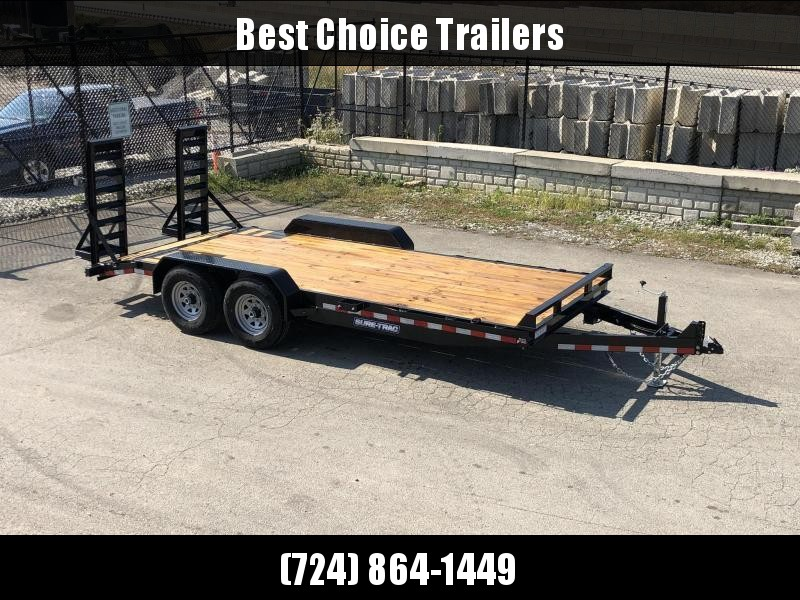 """2021 Sure-Trac 7x18' Equipment Trailer 14000# GVW * TOOLBOX * 12K JACK * DELUXE OVERWIDTH 4"""" CHANNEL RAMPS W/ MESH * RUBRAIL/STAKE POCKETS/D-RINGS * HD FENDERS * ADJUSTABLE CAST COUPLER * SPARE MOUNT * SEALED HARNESS"""