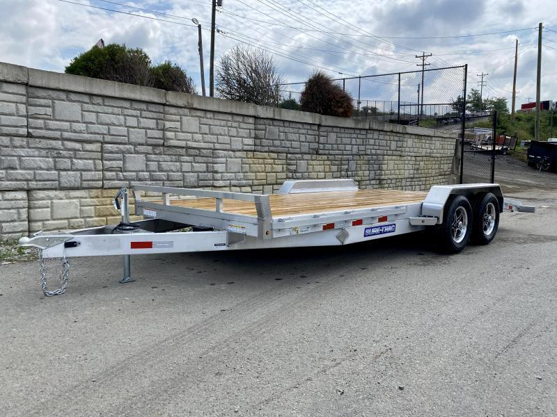 2021 Sure-Trac 7x18' Aluminum Wood Deck Car Hauler 7000# GVW * REAR SLIDE OUT RAMPS * REMOVABLE FENDERS * SEALED WIRING HARNESS * STAKE POCKETS/RUBRAIL * 4' EXTRUDED DOVETAIL * ALUMINUM WHEELS * SPARE TIRE MOUNT * CLEARANCE