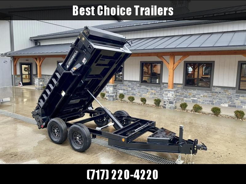 "2021 IronBull 5x10' Dump Trailer 7000# GVW * OVERSIZE 5"" HOIST * TARP KIT * RAMPS * I-BEAM FRAME * INTEGRATED KEYWAY * 10 GA SIDES AND FLOOR * COMBO GATE * ADJUSTABLE COUPLER * DROP LEG JACK * 110V CHARGER * CLEARANCE"