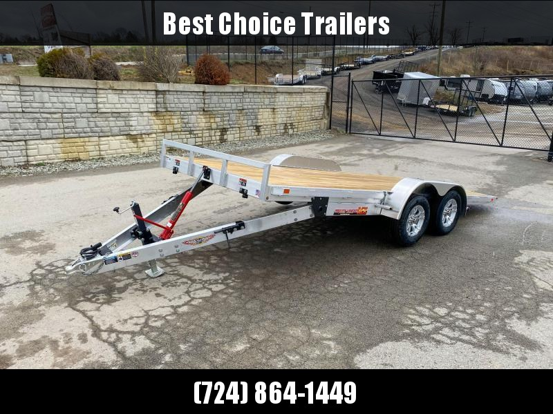 "2021 H&H 7x18' Aluminum Tilt Car Hauler Trailer 7000# GVW * 6"" TONGUE AND FRAME * REMOVABLE FENDERS * ALUMINUM WHEELS * DROP JACK"