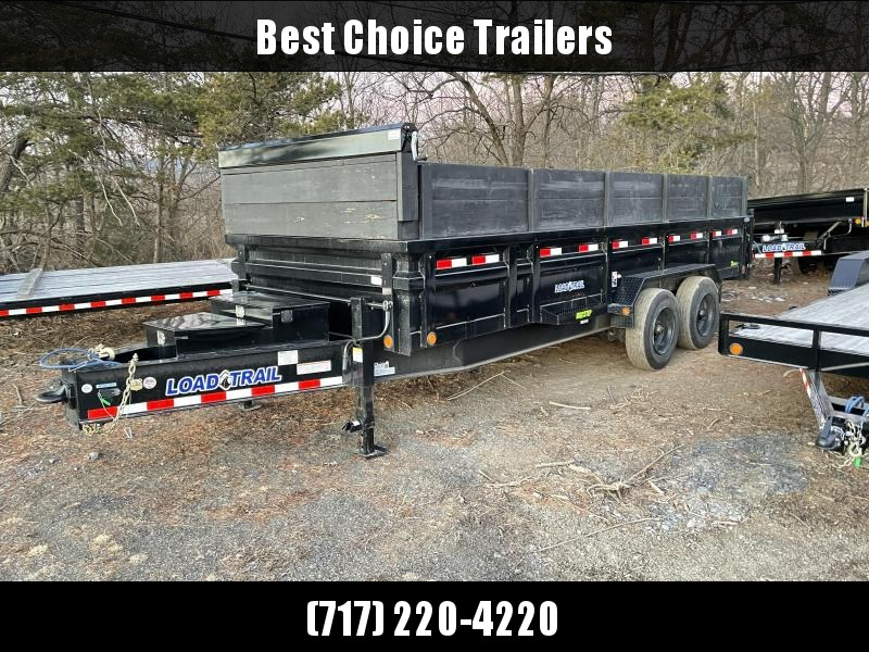 "USED 2020 Load Trail 7x20' HD Bumper Pull Dump Trailer 20000# GVW * DEXTER 10000# TORSION AXLES * OVERSIZE 6X30"" HOIST * 7GA FLOOR * 3-WAY GATE * I-BEAM FRAME * TARP KIT * INTEGRATED KEYWAY * POWDER PRIMER * DUAL 12K JACKS"