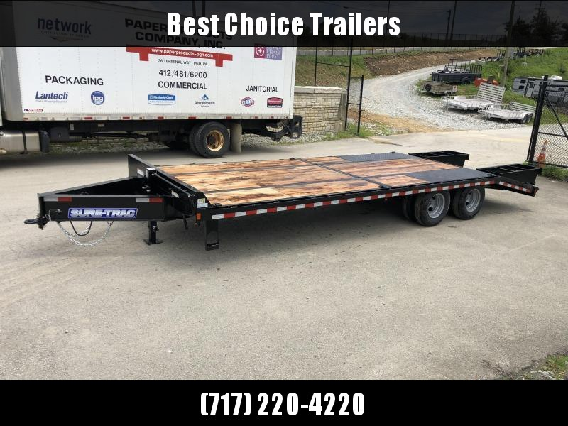 "2020 Sure-Trac 102x25' HD Beavertail Deckover Trailer 22500# GVW * PAVER SPECIAL * OAK BEAVERTAIL/DECK/RAMPS * DEXTER AXLES * FLIPOVER RAMPS * 12"" I-BEAM * PIERCED FRAME * (10) 1"" D-RINGS * CROSS TRAC BRACING"