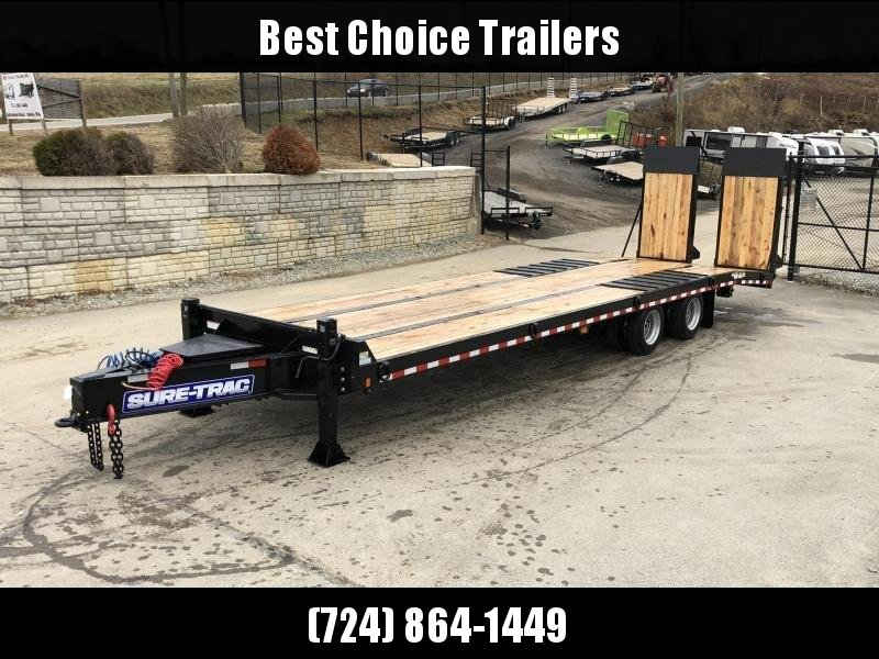 "2020 Sure Trac  102x24+7.5' Air Brake Beavertail Deckover Trailer 49000# GVW * 40X80 WOOD FILLED AIR RAMPS 40x80 * 7.5' DOUBLE BROKE BEAVERTAIL * 14"" PIERCED I-BEAM FRAME * 2"" OAK DECK * HUTCH 9700 SUSPENSION * DUAL 50K 2-SP JACKS * TOOLBOX * (12) 1"" D-RI"
