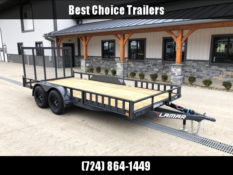 "2021 Lamar 7x18' ATV Utility Trailer 7000# GVW * CHANNEL FRAME * ATV SIDE RAMPS * CHARCOAL * SWIVEL JACK * CAST COUPLER * 2x2"" TUBE GATE W/ SPRING ASSIST * COLD WEATHER HARNESS * 4"" CHANNEL TONGUE * STAKE POCKETS * TEARDROP FENDERS * BULLET LED'S"