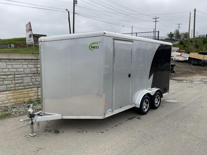 "2020 Neo 7.5x14' NAMR Aluminum Enclosed Motorcycle Trailer * VINYL WALLS * ALUMINUM WHEELS * +12"" HEIGHT * BLACK + SILVER * LOADING LIGHT * TORSION SUSPENSION * DRIVERS SIDE DOOR"