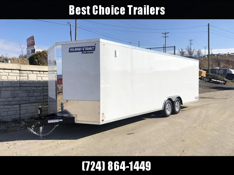 "2020 Sure-Trac 8.5x20' Pro Series Enclosed Car Hauler Trailer 9900# GVW * TORSION AXLES * BACKUP LIGHTS * WHITE EXTERIOR * V-NOSE * RAMP * 5200# AXLES * .030 SCREWLESS EXTERIOR * ALUMINUM WHEELS * 1 PC ROOF * 6"" FRAME * 16"" O.C. C/M * PLYWOOD * TUBE STUDS"