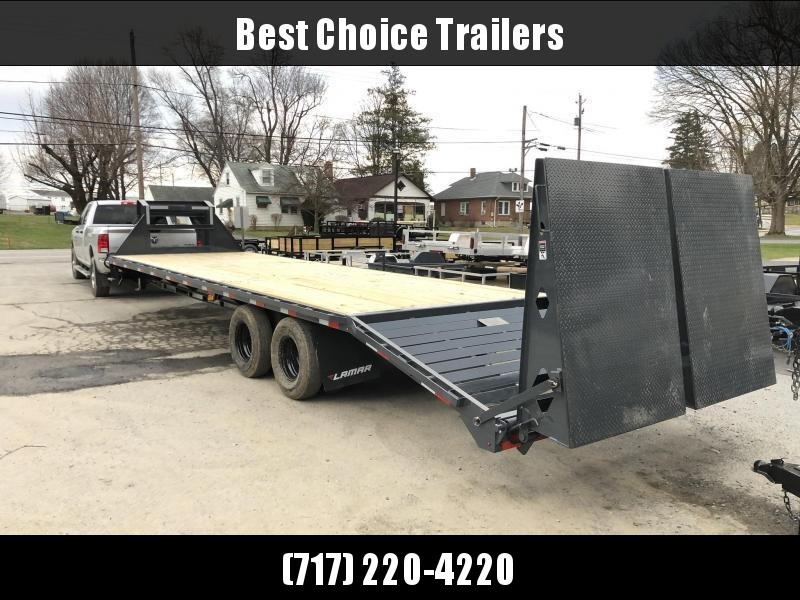 "2020 Lamar 102x32' Gooseneck Beavertail Deckover Trailer 25900# * 12000# DEXTER AXLES * EOH DISC BRAKES * FULL WIDTH RAMPS * 12"" / 22# I-BEAM * FRONT TOOLBOX / DUAL JACKS * UNDER FRAME BRIDGE"