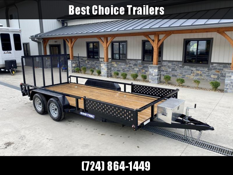 """2021 Sure-Trac 7x16' Tube Top ATV Side Ramps Utility Landscape Trailer 7000# GVW * TOOLBOX * EXTRA D-RINGS * 2X2"""" TUBE GATE W/SPRING ASSIST * LED LIGHTS"""