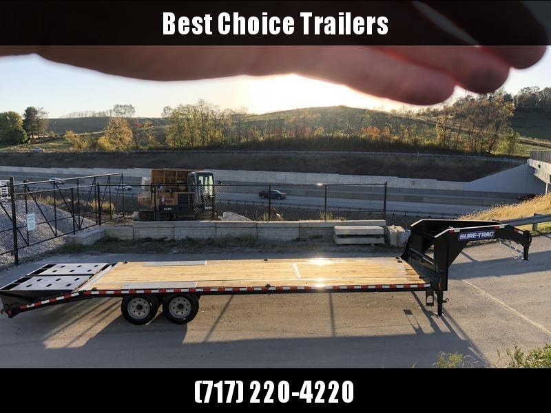 "2020 Sure-Trac 102x30' Gooseneck Beavertail Deckover Trailer 17600# GVW * 8000# AXLES * 17.5"" 16-PLY TIRES * 3 3/8"" BRAKES * DUAL JACKS * FULL TOOLBOX * FULL WIDTH RAMPS (STAND UP OR FLIPOVER) * 12"" I-BEAM * PIERCED FRAME * (10) 1"" D-RINGS * CROSS TRAC *"