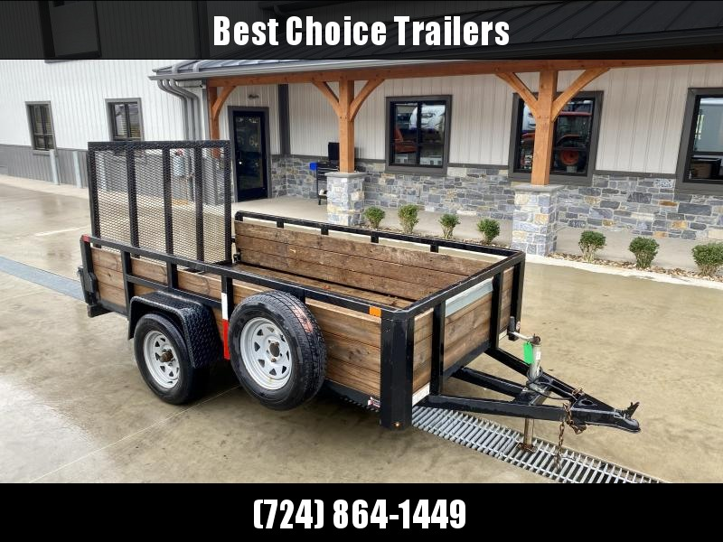 USED 2020 Sure-Trac 5x10' Wood High Side Tube Top Utility Landscape Trailer 2990# GVW * 3 BOARD HIGH SIDE * SPARE TIRE * TRIPLE TUBE TONGUE * SETBACK JACK * TUBE TOP RAIL * TUBE/LAYFAT/SPRING ASSIST GATE * D-RINGS * LED LIGHTS